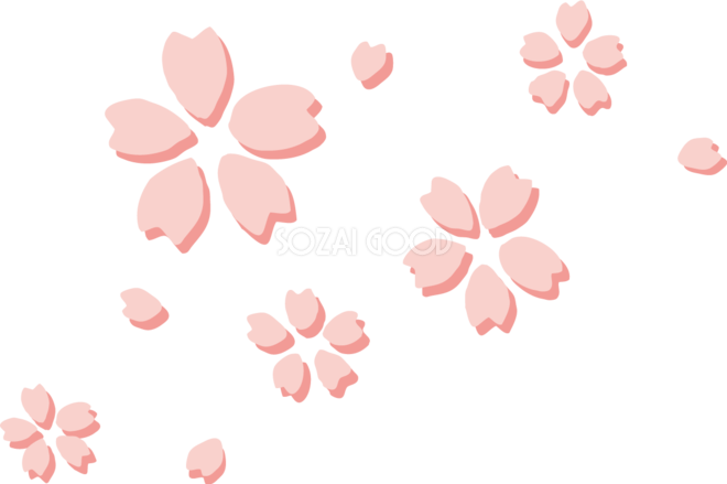 たくさんの影のある桜イラストワンポイントフリー無料83413 素材good