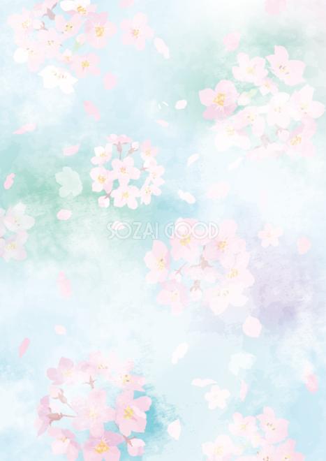 桜の 淡い水彩 大人っぽいタッチの 縦 背景素材おしゃれイラスト無料フリー475 素材good