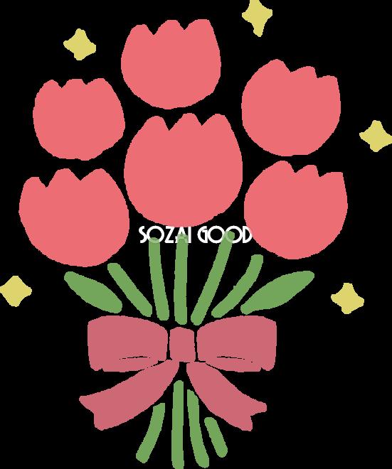 かわいいチューリップの花束イラスト無料フリー83535 素材good