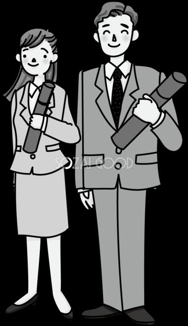 大人っぽい男性と女性が卒業証書を持ち笑顔のモノクロ白黒イラスト無料フリー545 素材good