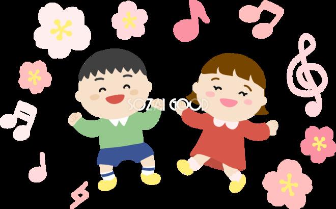 桜を背景に男の子と女の子がダンスイラスト無料フリー83566 素材good