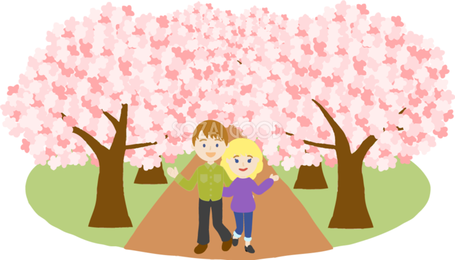 桜並木を外国人金髪恋人カップルが花見するイラスト無料