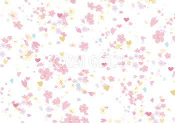 かわいい小さい桜やハートが舞う背景素材おしゃれイラスト599 素材good