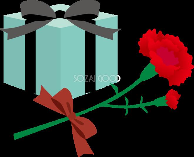 プレゼントボックスと赤の大人っぽいカーネーションイラスト無料フリー