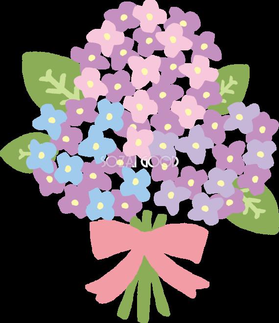 ピンクのリボンのかわいいアジサイの花束イラスト無料フリー83731 素材good