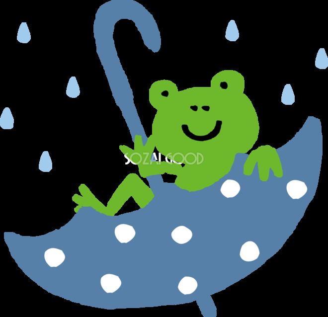 傘の中でくつろぐカエルのかわいい梅雨の無料フリーイラスト83799 素材good