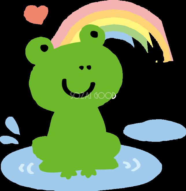 虹と水たまりとカエルのかわいい梅雨の無料フリーイラスト83803 素材good