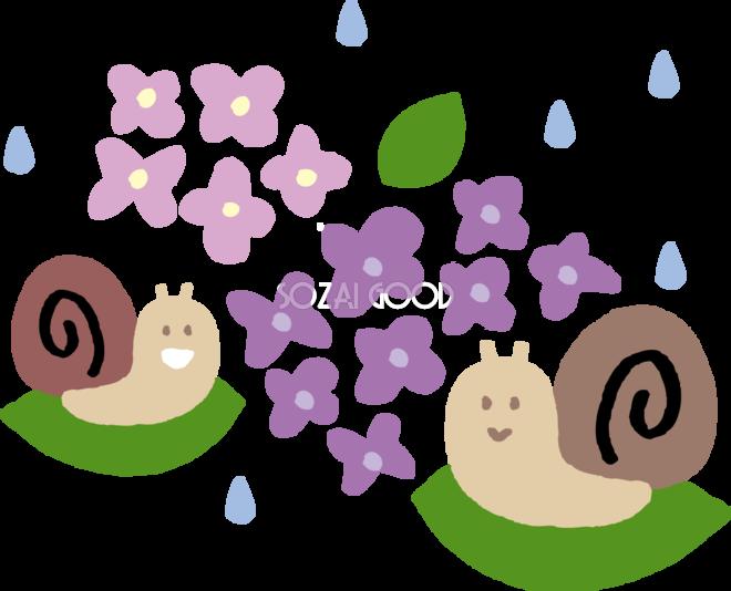 あじさいと2匹のカタツムリでんでん虫のかわいい梅雨の無料フリー