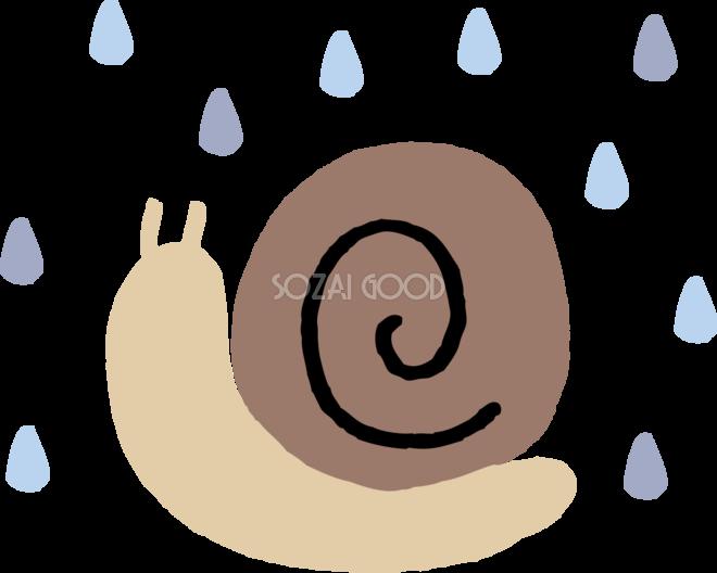 雨とカタツムリでんでん虫のかわいい梅雨の無料フリーイラスト83828