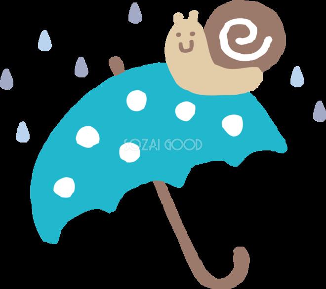 傘の上にカタツムリでんでん虫のかわいい梅雨の無料フリーイラスト