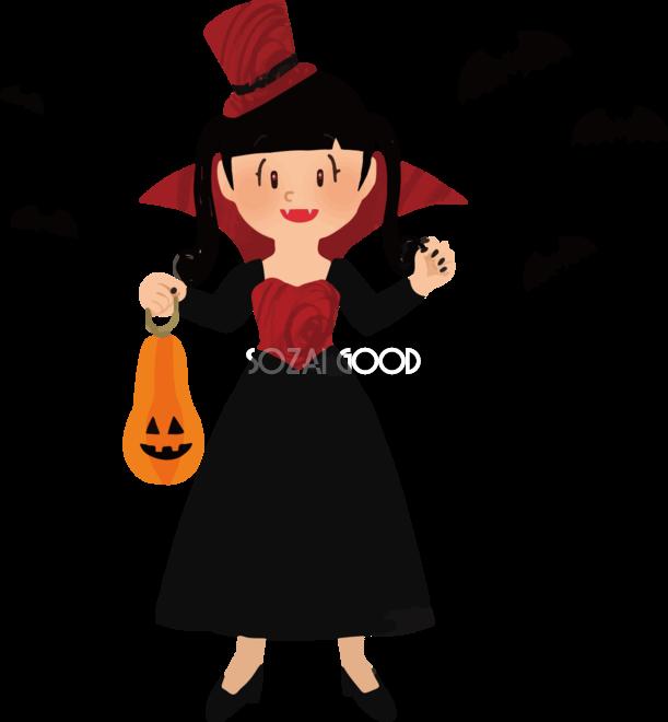 ハロウィン女の子ヴァンパイアかわいい仮装イラスト無料フリー