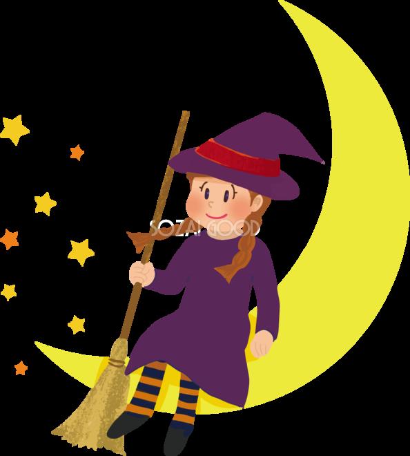 ハロウィン女の子月と魔女かわいい仮装イラスト無料フリー84234
