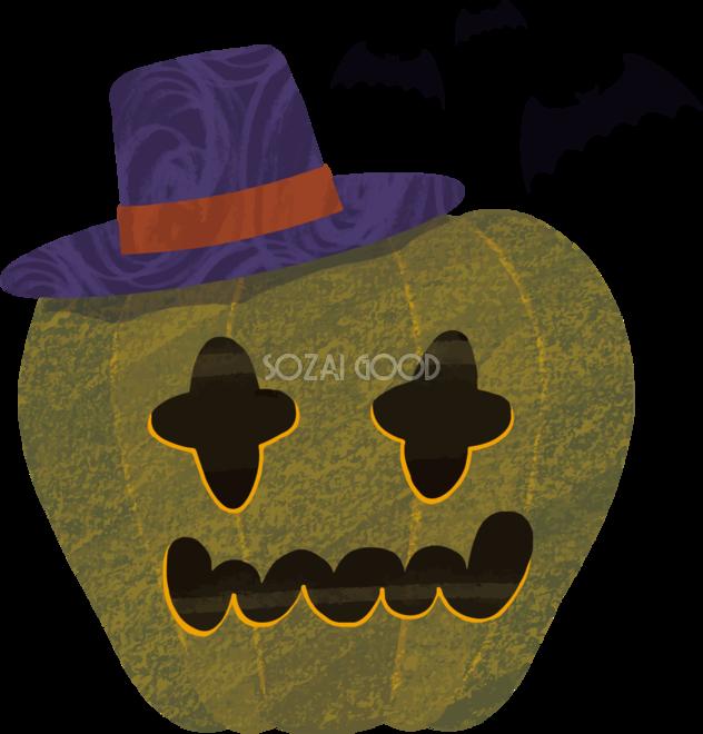 ハロウィンかぼちゃ顔とコウモリイラストかわいい無料フリー84252