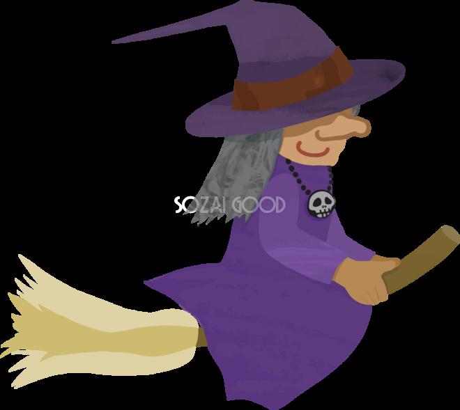 ハロウィンホウキに乗り空飛ぶ魔女老婆イラストかわいい無料フリー