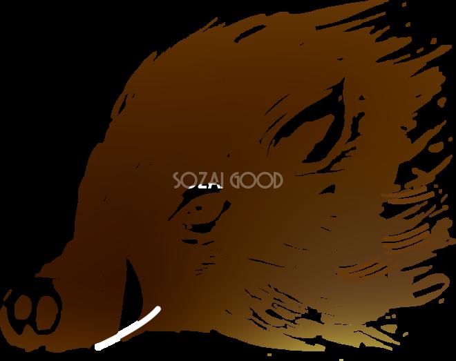 和風かっこいい版画イノシシイラスト無料フリー84630 素材good