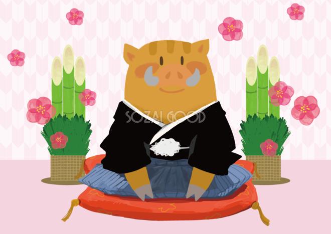 かわいいイノシシ袴の亥年の年賀状背景イラスト無料フリー84792 素材good