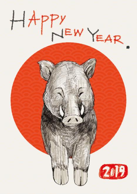 かわいいペン画イノシシの亥年の年賀状背景イラスト無料フリー84795