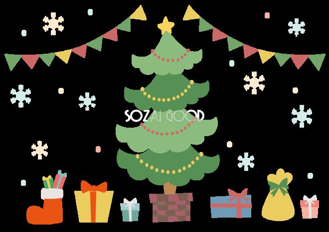 かわいいクリスマスフレーム枠クリスマスツリーとプレゼントイラスト