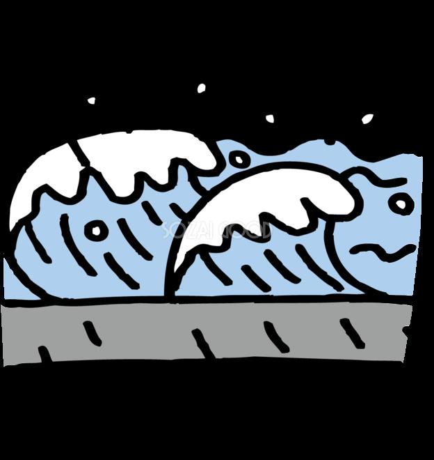 高潮注意イラスト無料フリー嵐で高潮になる海85181 素材good
