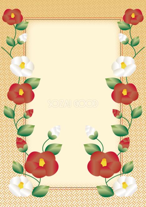和風フレーム枠イラスト美しい椿が印象的な和柄無料フリー85277 素材good