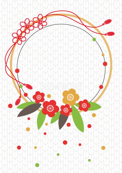 和風フレーム枠イラスト和風アレンジメントフラワーのイメージ梅の花