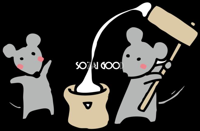 もちつきする ねずみ ネズミ 鼠 かわいい子年の無料イラスト 素材good