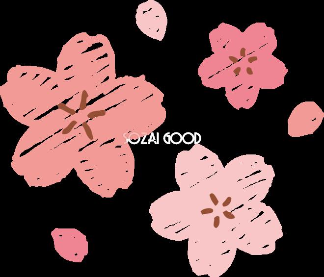 クレヨンタッチの桜の花びら おしゃれ無料フリーイラスト85363 素材good