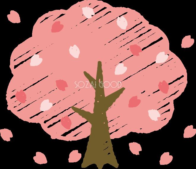 クレヨンタッチの桜の木 おしゃれ無料フリーイラスト85380 素材good